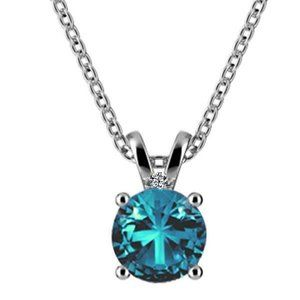 Lady White Gold 14K 7.05 Carats Blue Topaz And Dia
